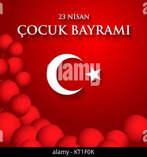 23 nisan cocuk baryrami. Translation: Turkish April 23 Children's Day. Vector illustration. - Stock Photo