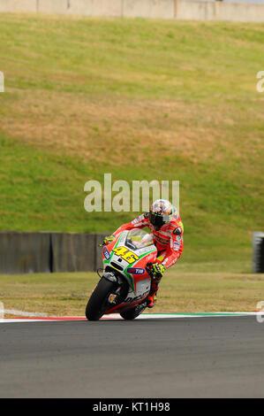 MUGELLO - ITALY, JULY 13 2012: Italian Ducati rider Valentino Rossi during 2012 TIM MotoGP GP of Italy. - Stock Photo