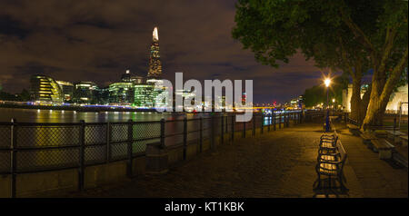 London - The panorama of Thames riverside and Shard from promenade at dusk. - Stock Photo