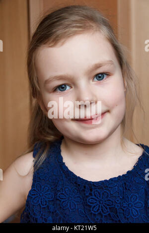 cute young girl smile indoor - Stock Photo