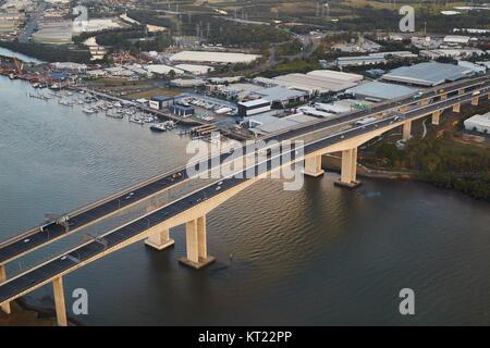 Highway bridge over river, aerial view - Stock Photo