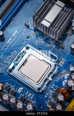 Circuit board with processor - Stock Photo
