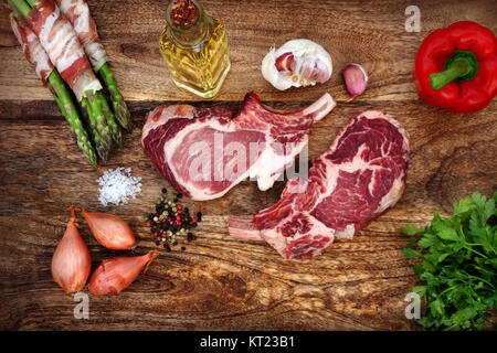 pork chops with ingredients - Stock Photo