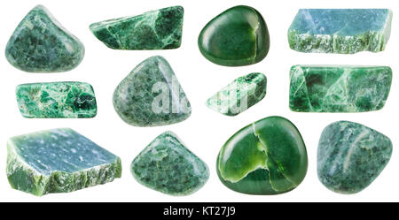 collection of various tumbled green jade stones - Stock Photo