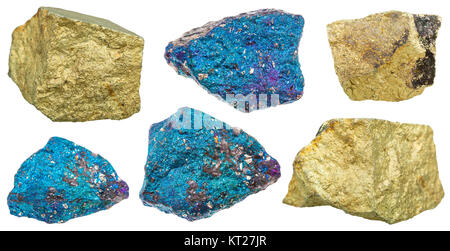 collection of various chalcopyrite mineral stones - Stock Photo