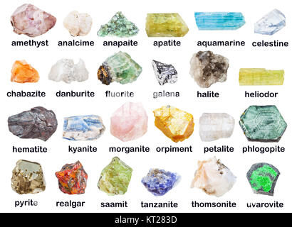 collection of raw minerals with descriptions - Stock Photo
