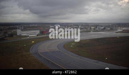 Paris; France-December 28; 2016: Paris Charles de Gaulle Airport.View from aircraft - Stock Photo