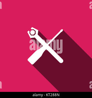 Screwdriver and Wrench icon vector - Stock Photo