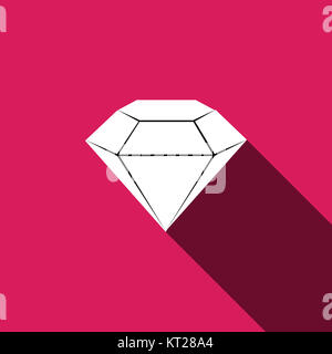diamond Icon with long shadow - Stock Photo
