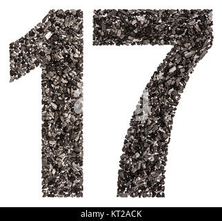 Arabic numeral 17, seventeen, from black a natural charcoal, isolated on white background - Stock Photo