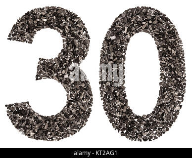 Arabic numeral 30, thirty, from black a natural charcoal, isolated on white background - Stock Photo