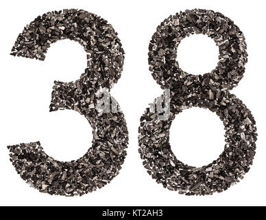 Arabic numeral 38, thirty eight, from black a natural charcoal, isolated on white background - Stock Photo