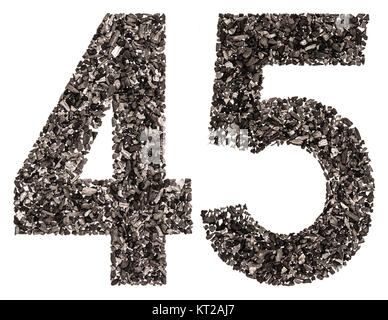 Arabic numeral 45, forty five, from black a natural charcoal, isolated on white background - Stock Photo