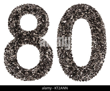 Arabic numeral 80, eighty, from black a natural charcoal, isolated on white background - Stock Photo