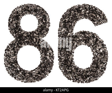 Arabic numeral 86, eighty six, from black a natural charcoal, isolated on white background - Stock Photo