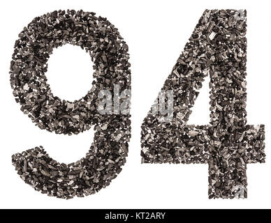 Arabic numeral 94, ninety four, from black a natural charcoal, isolated on white background - Stock Photo