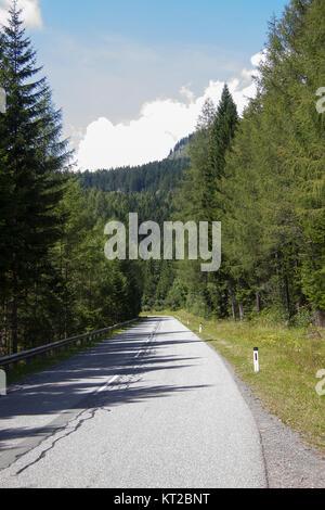 Asphaltstraße auf einer Alm in der Steiermark - Stock Photo