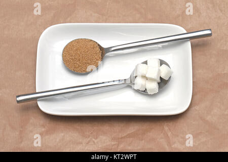 Sugar in spoons - Stock Photo