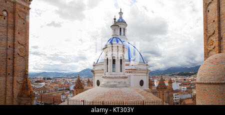 Cuenca Cathedral, Ecuador - view from the roof, Cathedral of the Immaculate Conception, Cuenca, Ecuador South America - Stock Photo
