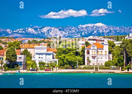 Zadar coast villas ann Velebit background - Stock Photo