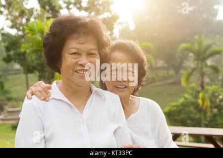 Asian seniors family having good time - Stock Photo