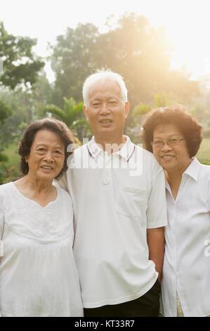 Asian seniors group smiling - Stock Photo