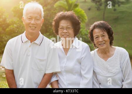 Asian seniors group portrait - Stock Photo