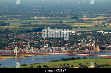 Emmerich, view of Emmerich over the Rhine and the Rhine bridge Emmerich, Lower Rhine, North Rhine-Westphalia, Germany, - Stock Photo