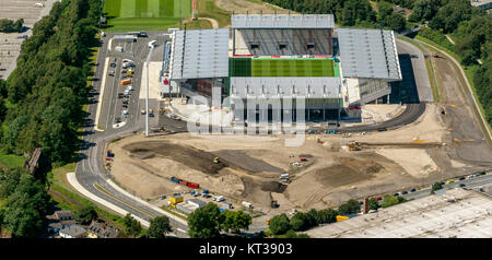 RWE Stadium, Red-White-Essen Stadium, from the Georg Melches Stadium Hafenstraße is nothing to see, aerial view - Stock Photo