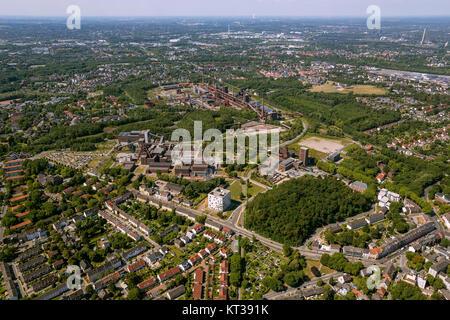 Zollverein colliery including Zollverein shaft I / II, Essen, Ruhr area, North Rhine-Westphalia, Germany, Europe, - Stock Photo
