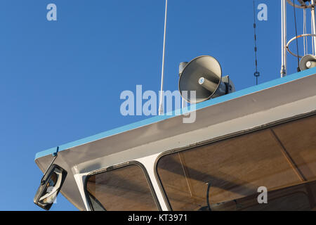 megaphone on a boat roof megaphones on a ship's roof - Stock Photo