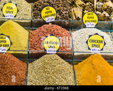 Colorful spices at spice bazaar in Istanbul, Turkey - Stock Photo