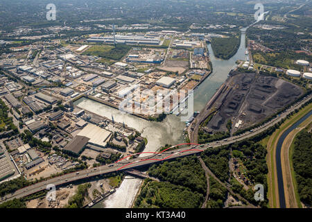 ECONOVA with city harbor, motorway A2, Rhein-Herne-Kanal, industrial area, Emscher river, Essen, Ruhr area, North - Stock Photo