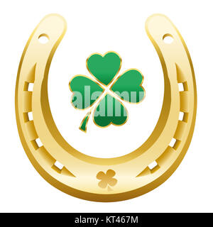 HAPPY NEW YEAR symbol - four leaf clover and golden horseshoe correctly with the open side up to attain happiness, - Stock Photo