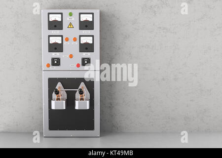 Industrial electrical power panel box in the building , 3D rendering - Stock Photo