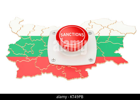Sanctions button on map of Bulgaria, 3D rendering isolated on white background - Stock Photo