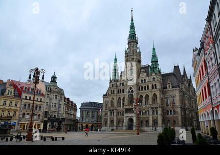 In the town of Liberec (Reichenberg) in the Czech Republic: Around the Main Square - Stock Photo