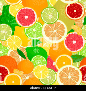 Juicy Citrus fruits set. Bright and vivid. Yellow, orange, red, green. Whole and slices - Stock Photo