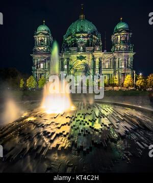 BERLIN, GERMANY - OCTOBER 14: Berliner Dome illuminated during FESTIVAL OF LIGHTS on October 14, 2013  in Berlin, - Stock Photo