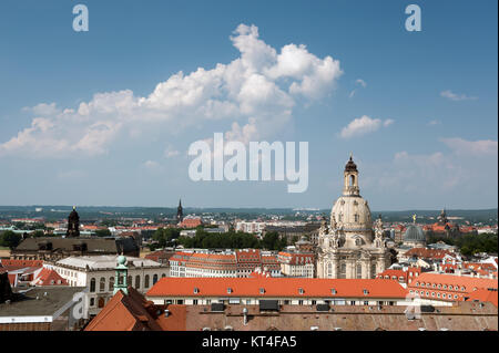 Aerial view of roofs of Old Dresden and Frauenkirche - Stock Photo