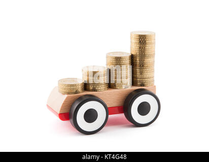Saving money for a car. Clipping path included. - Stock Photo