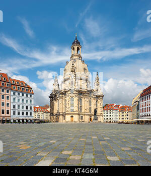 Frauenkirche in Dresden, Saxony, Germany, tilt-shift panoramic image - Stock Photo