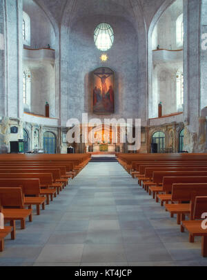 Interior view of the Kreuzkirche (Church of the Holy Cross) in Dresden, Saxony, Germany - Stock Photo