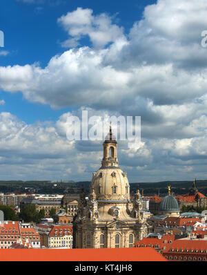 Skyline of Dresden, Saxony, Germany with Church of Our Lady (Frauenkirche) on a bright day - Stock Photo