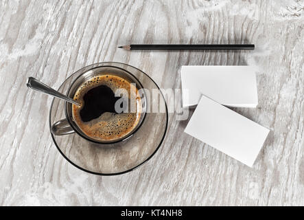 Coffee and business cards - Stock Photo