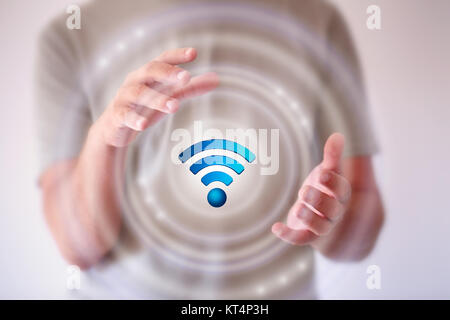 businessman using free wifi hotspot interface 3D rendering - Stock Photo