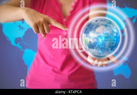 Connections system on world icon concept - Stock Photo