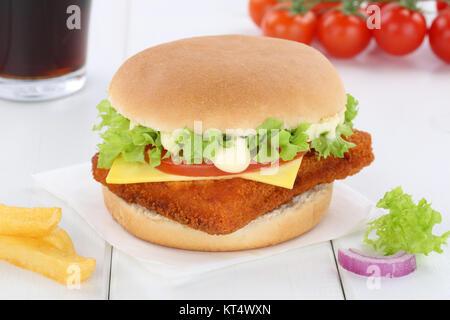 Fischburger Fisch Burger Backfisch Hamburger Menu Menü Menue Cola Getränk - Stock Photo