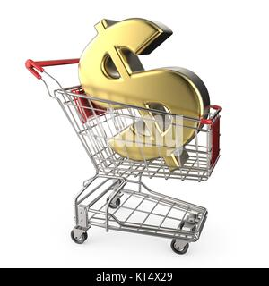 Red shopping cart with golden dollar currency sign 3D - Stock Photo