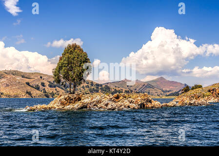 Lonely tree on a small rocky island on a lake under blue skies with fluffy white clouds